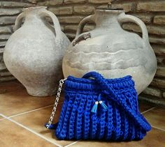 Bolso de trapillo azulon by Crochet o ganchillo