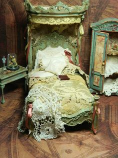 Available on Etsy at LoreleiBlu April 20th. I have gone beyond shabby chic. This is The Forgotten Manor Collection. The lace and fabrics I use on this are true antique, hence the color of these pieces. They have been acquired from all over Europe. The pieces are small and once used can not be duplicated. The aging technique I do, makes this furniture look like it has been in a place time has forgotten. All are one of a kind and very unique.