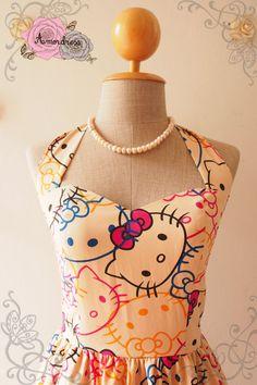 Hello Kitty Cute Sun Dress Kawaii Halter Dress Sweetheart Bust Line Summer Dress Retro Vintage Bridesmaid Dress-xs-xl, custom