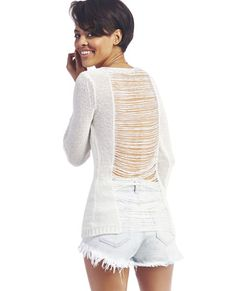 "<p>When it's not quite sweater season yet, slip into this tres chic long-sleeve, long-length sweater featuring an airy open knit with a shredded back from neckline to hem and a deep scoop neckline at the front. Knit has stretch for a super comfy fit and is unlined. Make sure to pair it with a sexy, lacy bandeau for that on-purpose peekage.</p>  <p>Model is 5'9"" and wears a size small.</p>  <ul> 	<li>75% Cotton / 25% Nylon</li> 	<li>Machine Wash</li> 	<li>Imported</li> </ul>"