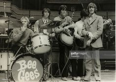 Music, Royal Albert Hall, London, England, 1968, The British pop group The Bee Gees at rehearsel for their concert, Members of the band include, Colin Petersen, Robin Gibb, Barry Gibb, Vince Melouney and Maurice Gibb