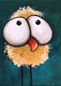 Whimsical Chicken Painting - Bad Hair Day by Lucia Stewart Cartoon Drawings, Animal Drawings, Cute Drawings, Chicken Painting, Chicken Art, Creation Art, Rock Painting Designs, Happy Paintings, Whimsical Art