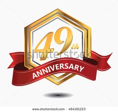 49th anniversary hexagonal style logo with gold and silver combination red ribbon