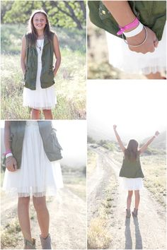 tween photo shoot outfit ideas, from my own blog. tween military vest and soft dress
