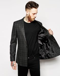 Image 3 ofASOS Skinny Fit Longline Blazer In Check
