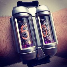 Gelfman Nixie Tube Watch. Reminds me of a jet-pack for your wrist!!