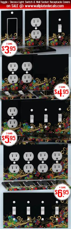 DIY Do It Yourself Home Decor - Easy to apply wall plate wraps | Neon Blooming  Black background with neon color flowers  wallplate skin stickers for single, double, triple and quadruple Toggle and Decora Light Switches, Wall Socket Duplex Receptacles, and blank decals without inside cuts for special outlets | On SALE now only $3.95 - $6.95