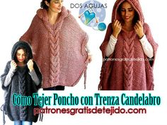 Crochet and Two Needles - Knitting Patterns - punto - Crochet Poncho Patterns, Knitting Patterns, Crochet Baby, Knit Crochet, Casual Skirt Outfits, Crochet Gloves, Poncho Sweater, Knitted Blankets, Ladies Dress Design