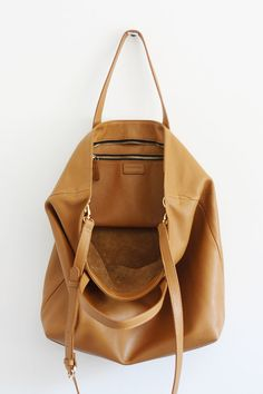 DOMI Top Zip Camel Brown Leather Tote Bag by MISHKAbags on Etsy Brown Leather  Totes, f463f538f9