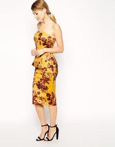 ASOS Premium Scuba Bandeau Midi Dress With Peplum
