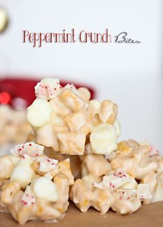 Peppermint Crunch Bites made with white chocolate, Captain Crunch cereal & chopped peppermint candy bars. Simple, no-bake dessert for great holiday gifts. Christmas Sweets, Christmas Cooking, Noel Christmas, Homemade Christmas, Christmas Gifts, Christmas Goodies, Christmas Candy, Holiday Gifts, Holiday Candy