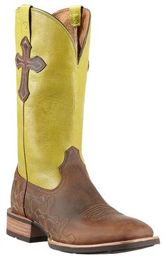 Ariat® Crossroads™ Men's Powder Brown with Lime Top & Crosses Double Welt Square Toe Western Boots