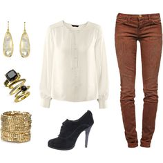 Brown Pants white top black shoes and gold
