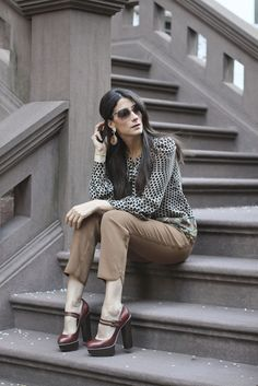 Top: Pippa (last year), Pants: Wilfred for Aritzia, Shoes: Jessica Simpson, Sunnies: TJ Maxx, Earrings: Meghna Designs