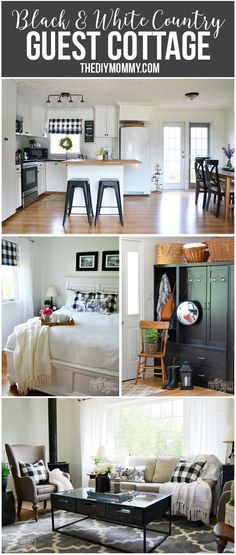 Black and white country farmhouse guest cottage on a budget - tons of great DIY ideas!