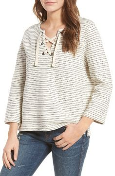 dfc383526 Women s Madewell Stripe Lace-Up Top Madewell