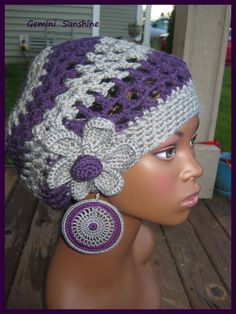 Purple Gray Sol Crochet Tam and Earrings by Geminisunshine on Etsy
