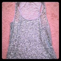See through sequence top! Beautiful see through sequence top, perfect to dress up or down! Tops Tank Tops