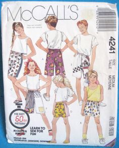 McCall's 4241 Girls or Boys Shorts   2 lengths, elastic waist  Size 8-10   Uncut