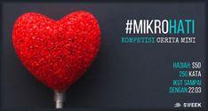 #InfoLomba #Lomba #Menulis #Mikrohati #Sweek Kompetisi Cerita Mini Mikrohati 2018 dari SWEEK  DEADLINE: 22 Maret 2018  http://infosayembara.com/info-lomba.php?judul=kompetisi-cerita-mini-mikrohati-2018-dari-sweek