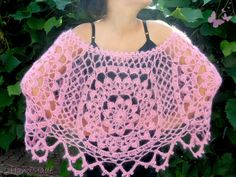 Pink Mohair Lace Chunky Crochet Capelet Shawl Wrap  by 2HandMade, $45.90