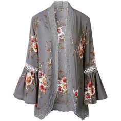 Yonala Women's Boho Lace Patchwork Floral Print Coat Tops Casual... (71 RON) ❤ liked on Polyvore featuring tops, cardigans, floral tops, lace kimono cardigan, kimono cardigan, bohemian cardigan and lace kimono