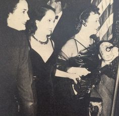 Merle Oberon and two Mrs. Randolph Hearsts at the last 640 Fifth Avenue Vanderbilt party