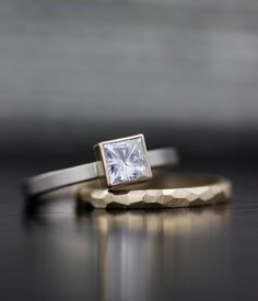 Image of women's engagement ring / wedding band set - silver, palladium, or gold - square moissanite