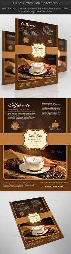 Coffee Shop Magazine ad or Flyer Template Magazine ads, Flyer - coffee shop brochure template