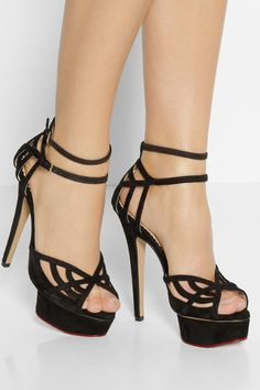 Charlotte Olympia - Octavia Suede And Mesh Platform Sandals - Black - IT39