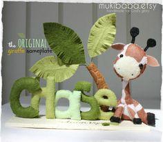 CUSTOM NAME SAFARI - custom kids decor- personalized baby decor - baby giraffe - elephant - children room decor - safari baby - baby lion - via Etsy Baby Decor, Kids Decor, Nursery Decor, Room Decor, Safari Nursery, Felt Toys, Personalized Baby, Felt Crafts, Baby Gifts