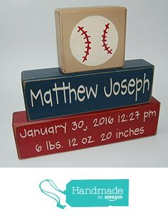 Baseball Sports Theme - Primitive Country Wood Stacking Sign Blocks-Personalized Custom Name and Birth Stats-Baby Gift-Birth Announcement-Baby-Boys/Girls Nursery Room Home Decor from Blocks Upon A Shelf https://www.amazon.com/dp/B01BIC24VG/ref=hnd_sw_r_pi_awdo_efrixbPG5QCEN #handmadeatamazon