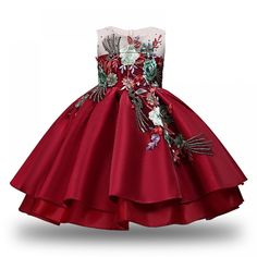 Baby Girl New Year Party Dress Fancy Embroidery Silk Princess Wedding Kids Dresses for Girls Toddler Children Christmas Dress Baby Girl Party Dresses, Toddler Girl Dresses, Little Girl Dresses, Girls Dresses, Flower Girl Dresses, Cheap Dresses, Kids Dress Wear, Girls Christmas Dresses, Wedding With Kids