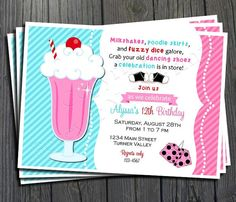 50's Birthday Invitation - FREE Thank You Card included $15.00 #50'sparty #partyinvite
