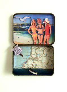 North Cornwall coast diorama in a vintage tin
