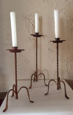 Set of three rustic iron tall candleholders vintage Spanish style by LADYG99 on Etsy