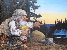 From the book TROLL, The original book of Norwegian Trolls by Jan Loof. Father Troll has had enough, he wraps himself up in a blanket, go. Landscape Illustration, Watercolor Illustration, Birds Flying Away, Illustrator, Baumgarten, Kobold, Creation Photo, Funny Troll, All Nature