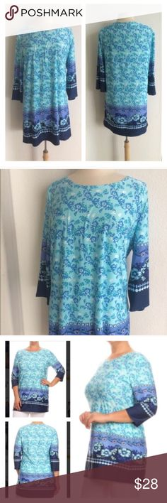 """(Plus) Blue tunic *runs slightly small Blue top. 95% polyester/ 5% spandex. Very comfy! This has a bit of stretch to it.    *This top runs slightly small- I suggest ordering a size up.  XL: L: 32"""" B: 42"""" 2x: L: 33"""" B: 44"""" ⭐️This item is brand new from manufacturer without tags.  🚫NO TRADES 💲Price is firm unless bundled 💰Ask about bundle discounts Availability: XL•2x • 1•1 Tops Tunics"""