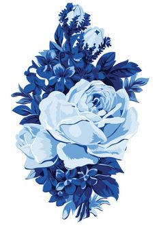 Blue Roses Temporary Tattoo - Vintage Floral Tattoos