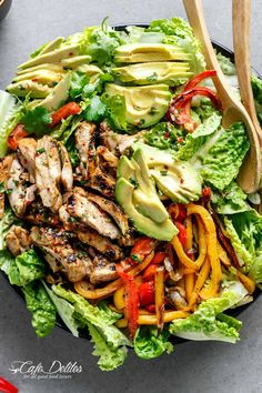 Grilled Chili Lime Chicken Fajita Salad with a dressing that doubles as a marinade! A genius way of keeping ALL of the incredible flavours in this salad!