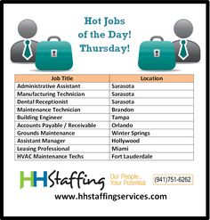 What have you been up to today, #jobseekers? Are you getting annoyed with your #jobsearch? We'll admit-- it's not a very fun process. However, if you partner with our expert #hiring team we can make your search much more enjoyable! Take a look at our awesome hot #jobs of the day and see if one may be a good fit with your skills. Please send your resume to customerservices@hhstaffingservices.com and if you have questions give us a call at (941)751-6262. We can't wait to help you!