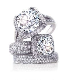 #Ritani Masterworks Collection Cushion Halo Triple Diamond Band Engagement Rings http://www.ritani.com/engagement-rings/style/masterwork-engagement-rings