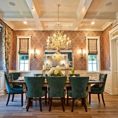 Blue Wallpaper Dining Room Design Ideas, Pictures, Remodel, and Decor - page 2