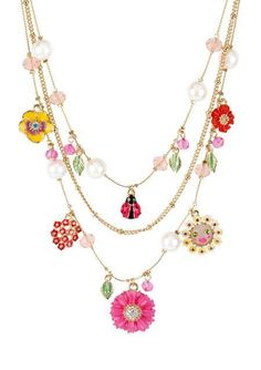 Betsey Johnson Necklace, Antique Gold-Tone Flower and Ladybug Charm Illusion Necklace - Fashion Jewelry - Jewelry & Watches - Macy's Love Necklace, Dainty Necklace, Simple Necklace, Green Necklace, Pearl Necklace, Beaded Necklace, Betsey Johnson Necklace, Necklace Online, Schmuck Design