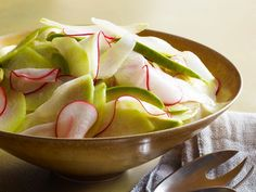 Chayote (a mild Mexican squash that looks like green pear) takes on tasty flavor in this radish and avocado salad dressed with lime juice, olive oil and salt.