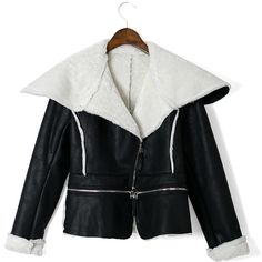Color Block Faux Fur Aviation Zip Jakcet ($70) ❤ liked on Polyvore