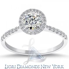 1.23 Ct. F-SI2 Natural Round Diamond Engagement Ring 14k Pave Halo Vintage Style