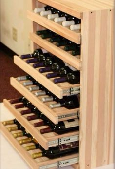 We Make It Happen With Vintner Wine Cradles - We pretty much know popular the Vintner Series is thanks to its flexible configurations and the variety of bottle storage options it offers. But who says (Liquor Bottle Storage) Wine Rack Design, Cellar Design, Wine Bottle Design, Wine Storage, Kitchen Storage, Wine Bottle Storage Ideas, Storage Drawers, Wine Shelves, Crate Shelves