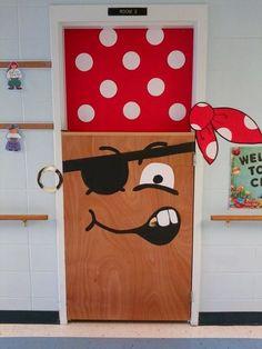 Pirate door at the BCLC - Arrrggggg!- halloween More Más Decoration Pirate, Halloween Door Decorations, Class Decoration, School Decorations, Halloween Classroom Door, Deco Porte Halloween, Pirate Halloween, Pirate Door, Teach Like A Pirate