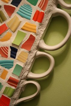 this is the edge of a fiesta ware mosaic mirror!
